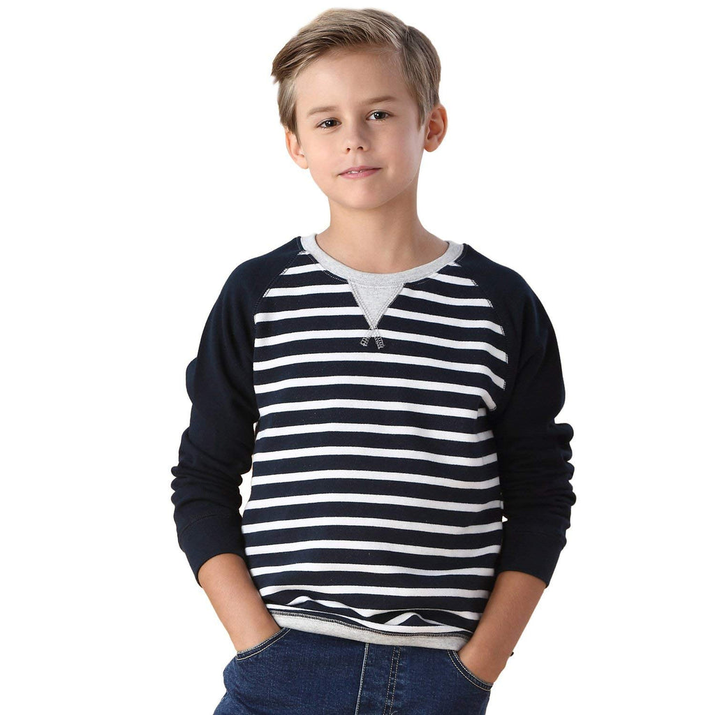 LEO&LILY boys Yarns Dyed Stripe Fleece Sweatshirts Top LLB801