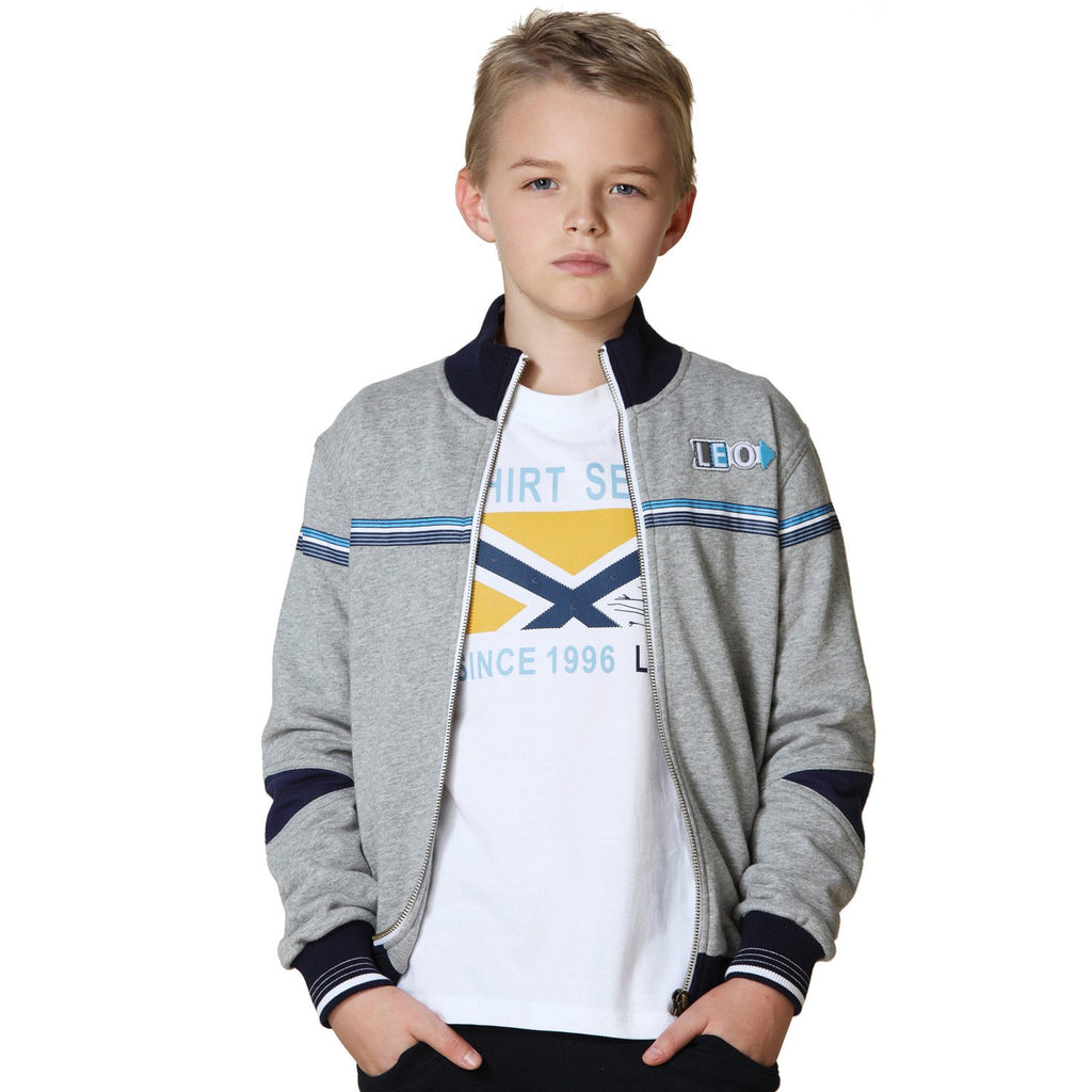 LEO&LILY Boys Fleece Zipper Opening Casual Blazer Jacket Activewear LLB883