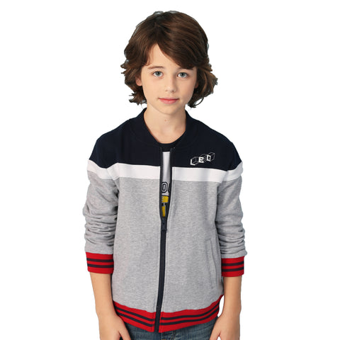 LEO&LILY Boys' Casual Regular Fit Zipper Opening Activewear Sweatshirts LLB8A04