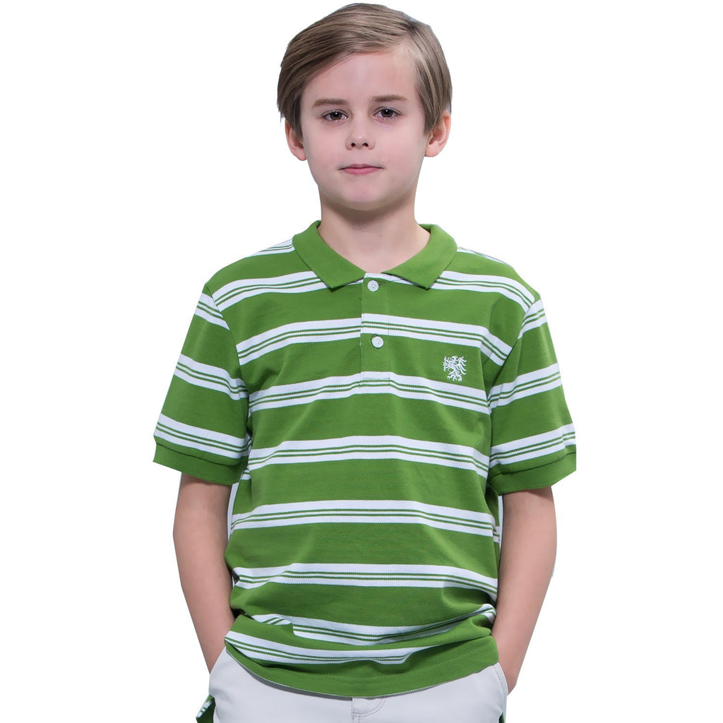 LEO&LILY Big boys Kids Cotton Pique Stripe Polo Shirts T-Shirts LLB902