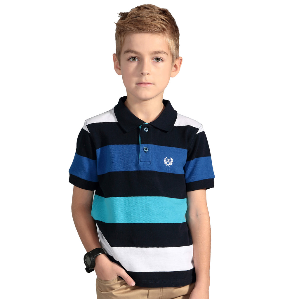 LEO&LILY Boys Short Sleeve Yarn Dyed Stripe Rugby Polo Shirt LLB9407