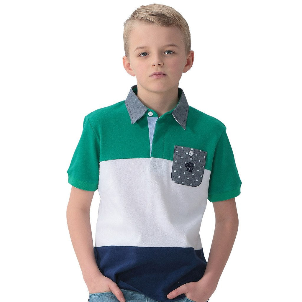 LEO&LILY Boys' Cotton Pique Casual Polo Shirts Chambray Collar LLB9415