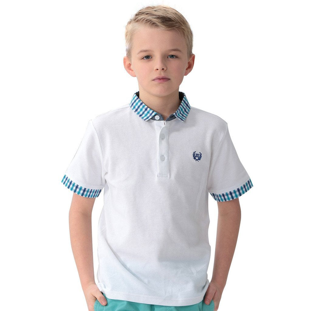 LEO&LILY Boys Casual Polo Shirts Blue Gingham Collars LLB9416