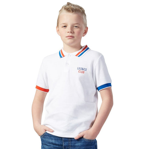 LEO&LILY Big Boys Short Sleeve Casual Rugby White Polo Shirts LLB9426