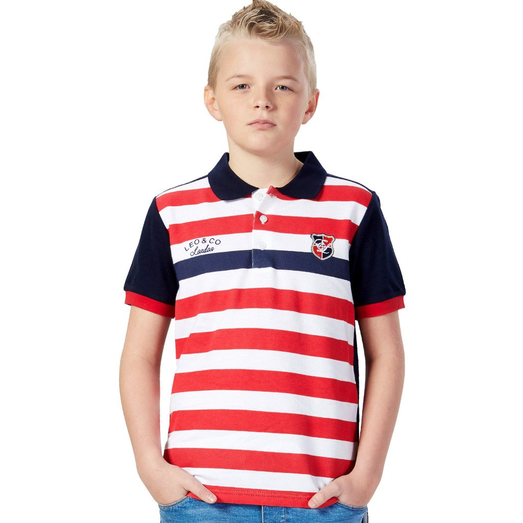 LEO&LILY Big Boys Casual Red White Stripy Polo Short Sleeve LLB9429