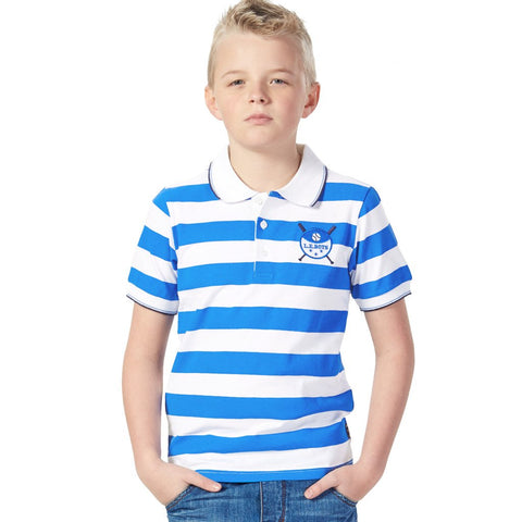LEO&LILY Short Sleeve Big Boys Sailor's Stripe Rugby Polo Shirts  LLB9430