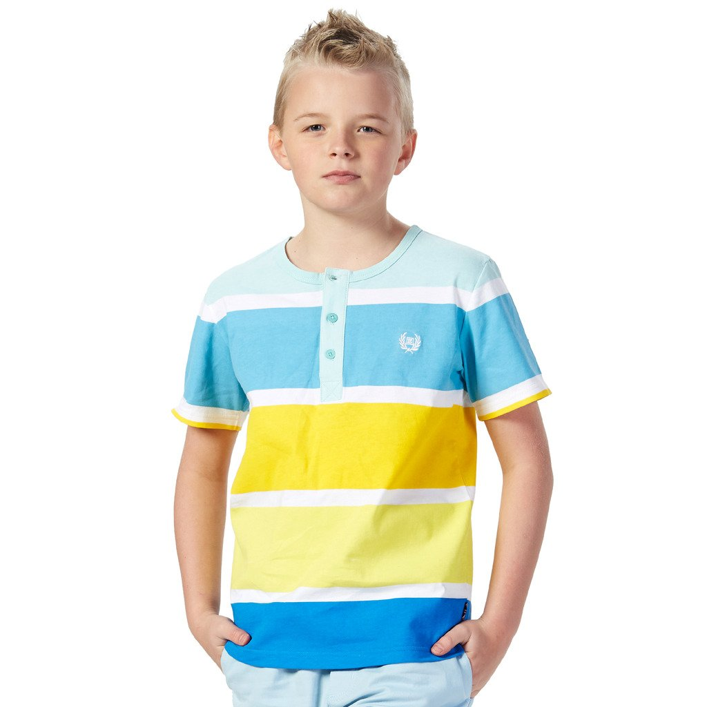LEO&LILY Big Boys Kids Short Sleeve Stripes Jersey Crew-neck Cardigan T-Shirts LLB9431