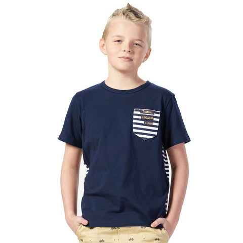 LEO&LILY Big Boys Short Sleeve Stripe Splice Crew-neck T-Shirts LLB9434