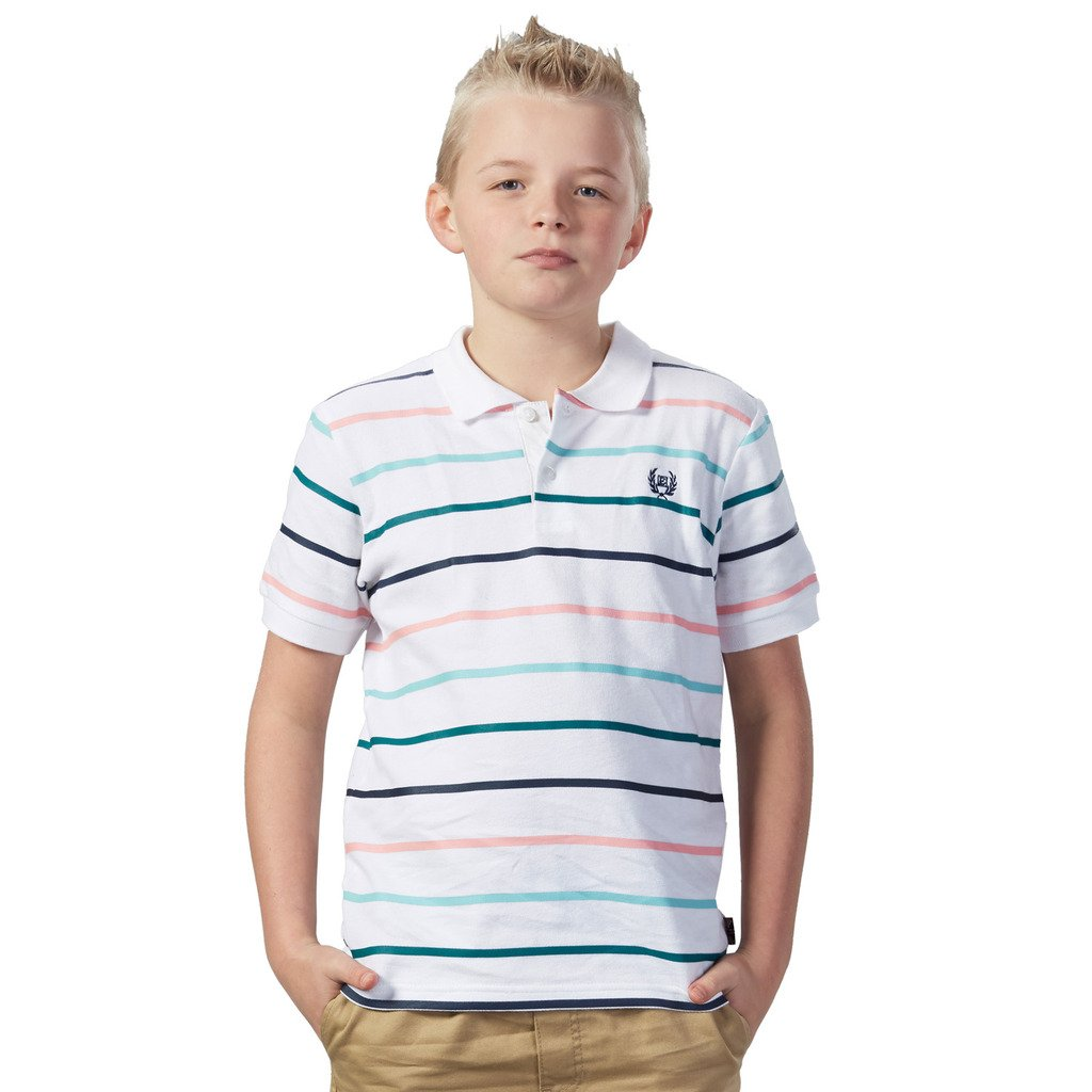 LEO&LILY Boys Short Sleeve Casual Cotton Stripes Rugby Polo Shirts  LLB9436