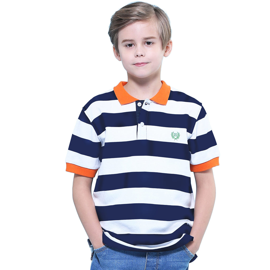 LEO&LILY Big Boys Short Sleeves Striped Pique Rugby Polo Shirt  LLB9451