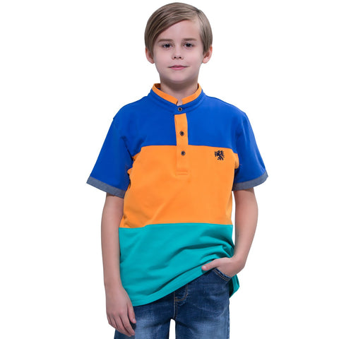 LEO&LILY boys Kids Sport Casual Cardigan Panels Polo Shirts Top LLB9453