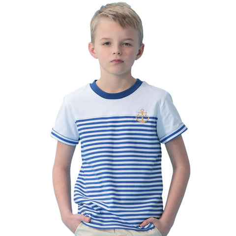 LEO&LILY Boys Kids Short Sleeves Casual Sports Cotton Stripy Crew T Shirt LLB9516