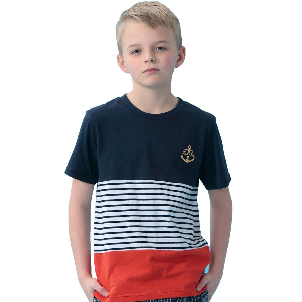 LEO&LILY Big Boys Kids Casual Sports Stripes Jersey T-Shirt LLB9522