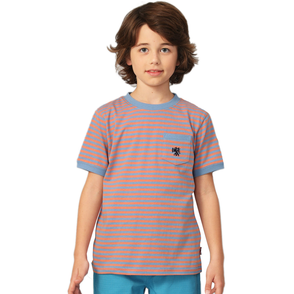 LEO&LILY Big Boys Short Sleeve Color Stripe Crew-neck T-Shirt LLB9B09