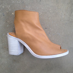 Tan Lokas Boot With White washed stacked Wooden Heel