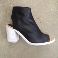 Lokas black leather boot with peep toe and stacked white washed heel
