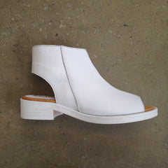 Lokas White Leather peep toe boots with white-washed heel