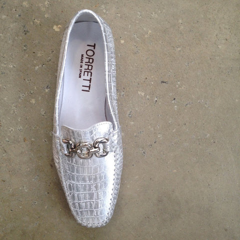 Torretti Silver Leather Moccasin Loafer