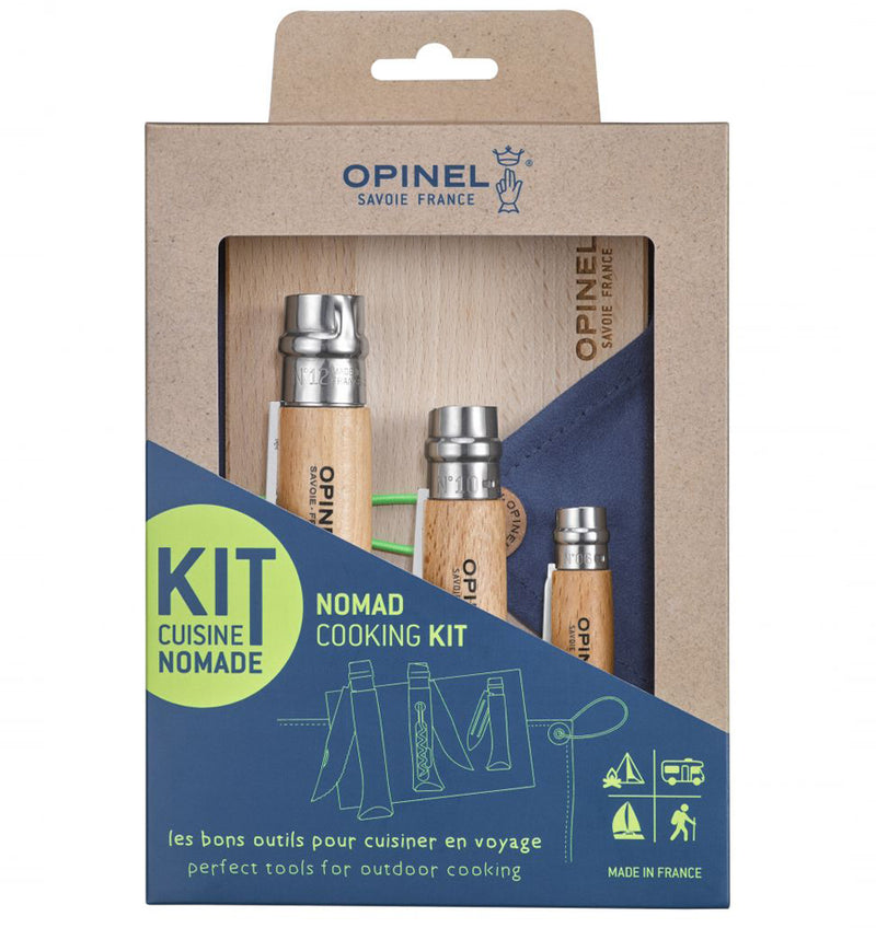 opinel gift set complete with chopping board and tea towel