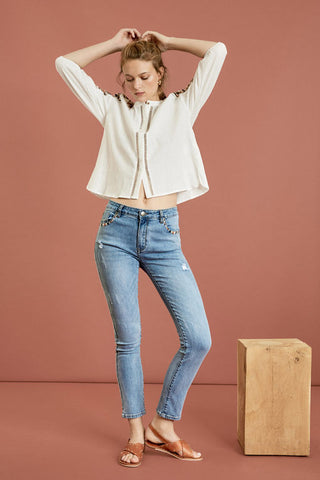 SUNCOO -Regan Slim blue jeans embroidered pockets