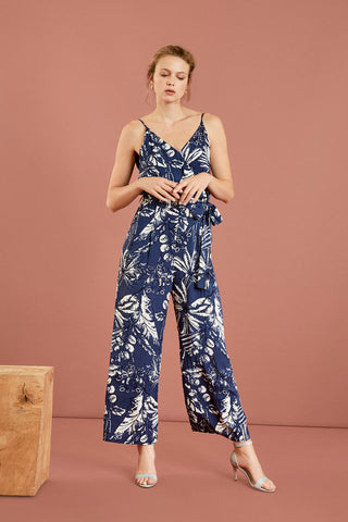 SUNCOO - Tatiana Tropical belted jumpsuit