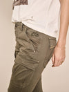 mos mosh cheryl cargo reunion pants in khaki green stud pockets