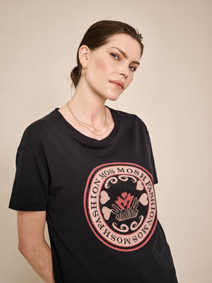 mos mosh leah ss tee in black with pink and red rhinestone logo