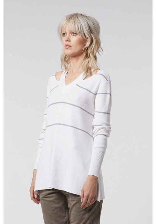ONCE WAS - JETT SPLIT SHOULDER KNIT IN WHITE/GREY STRIPE