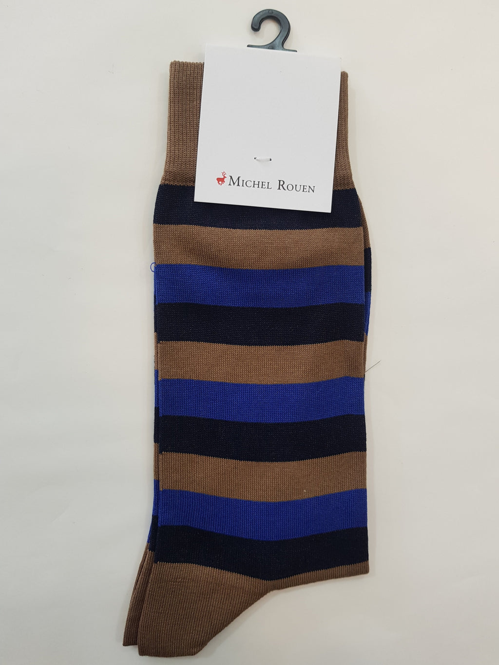 Michel Rouen Italian Socks - Bold Stripe Blue Coffee Combo