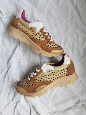 shop online Felmini C257 perforated Sneaker in Tan and White hunterminx