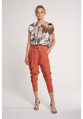 ONCE WAS - CHIAPPINI HIGH WAIST RELAXED PANT WITH D-RING BELT IN SIENNA