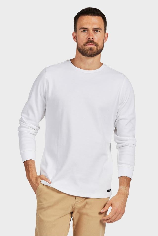 academy brand long sleeve workers crew in white hunterminx