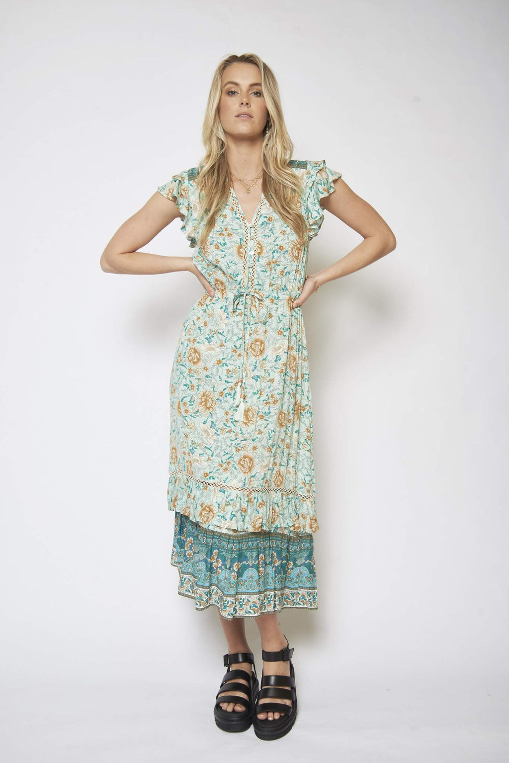 August boho maxi dress in minty ocean floral print