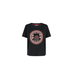 mos mosh leah ss tee in black with pink and red rhinestone logo ghost