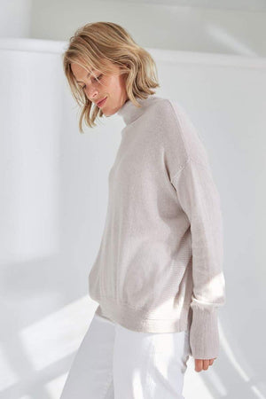mia fratino alabaster luxe rollneck sweater with ribbed detail
