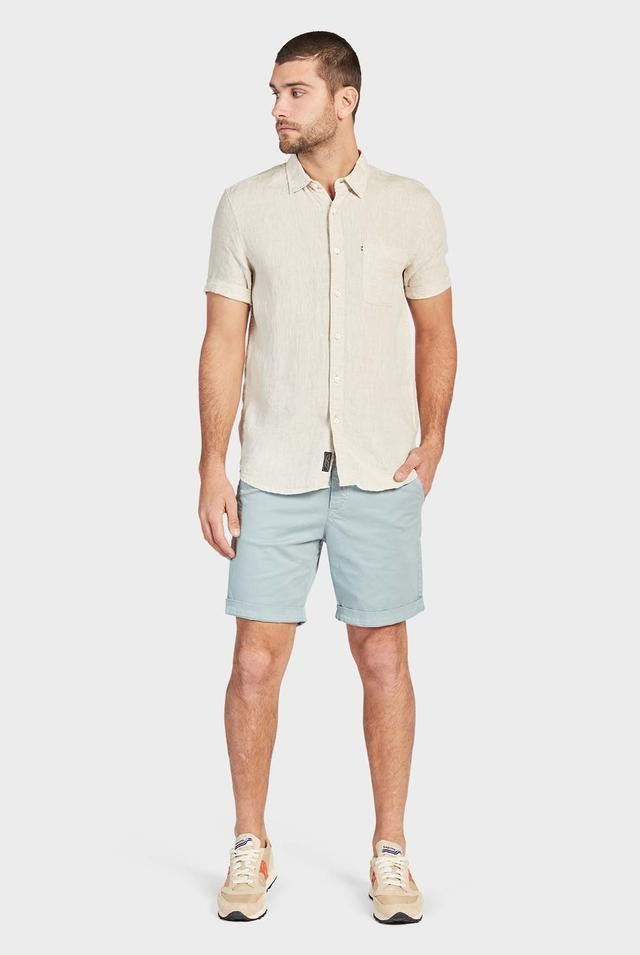 academy brand hampton linen shirt in short sleeve oatmeal