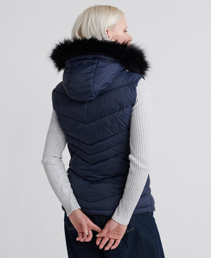 superdry puffer vest faux fur trim navy back