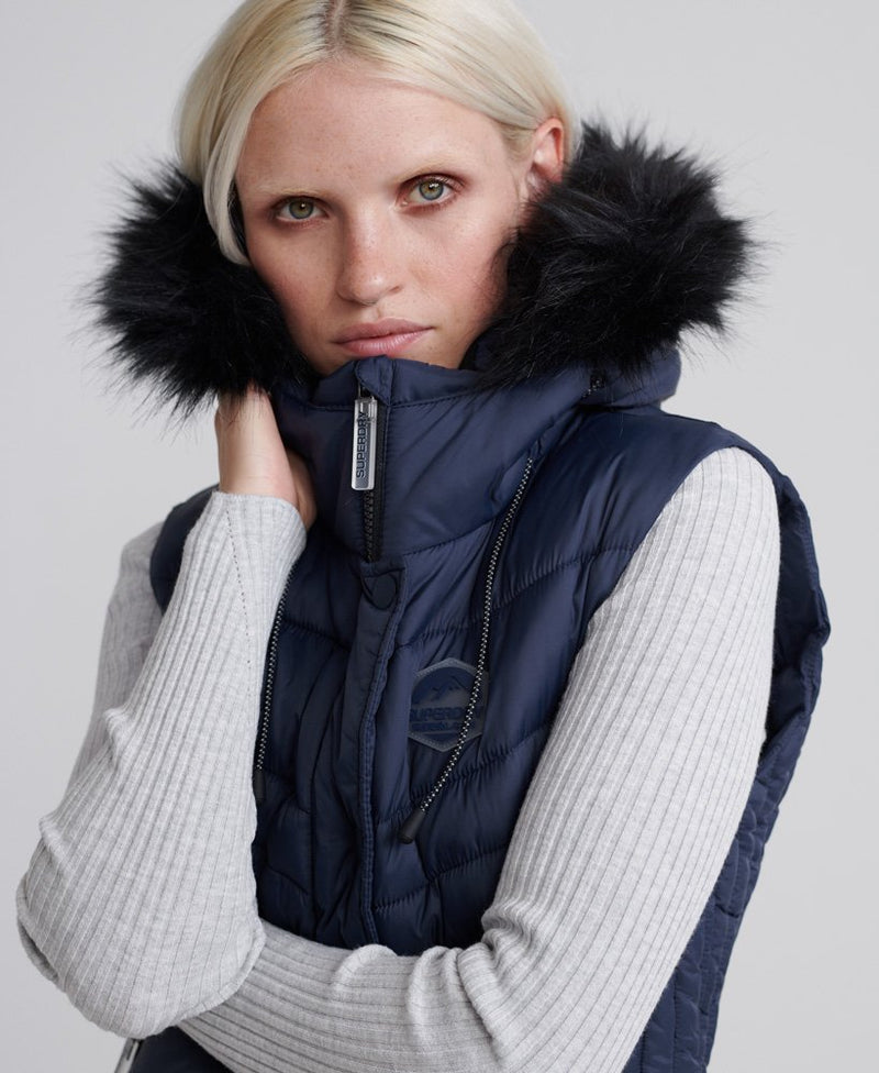 superdry puffer vest faux fur trim navy