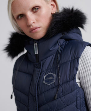 superdry puffer vest faux fur trim navy hood
