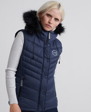 superdry puffer vest faux fur trim navy zip front