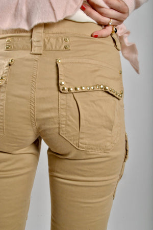 mos mosh cheryl cargo reunion pants in safari back studded pockets in gold