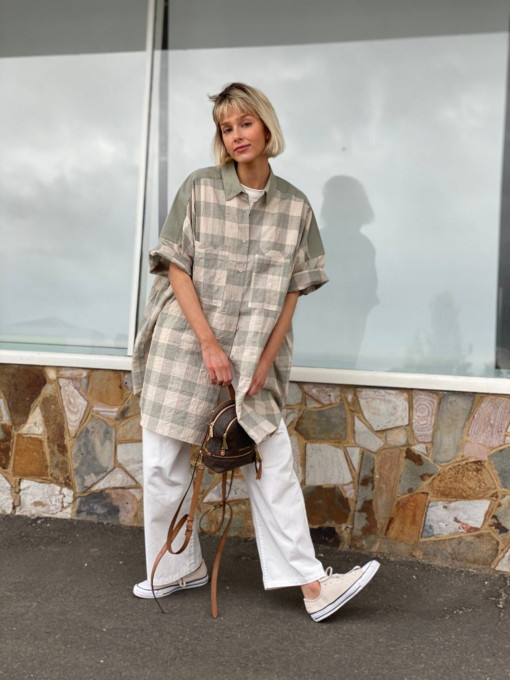 barry made percy sage check shirt dress