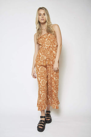 brown and cream boho jumpsuit hunterminx