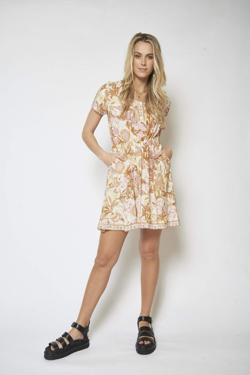 Lete Boho mini dress in creamy animal floral print