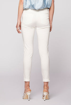 ONCE WAS - MORPHIC STRETCH FAILLE SLIM FIT PANT IVORY/WHITE