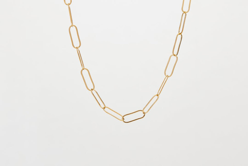 finerrings gold filled elongated short chain necklace