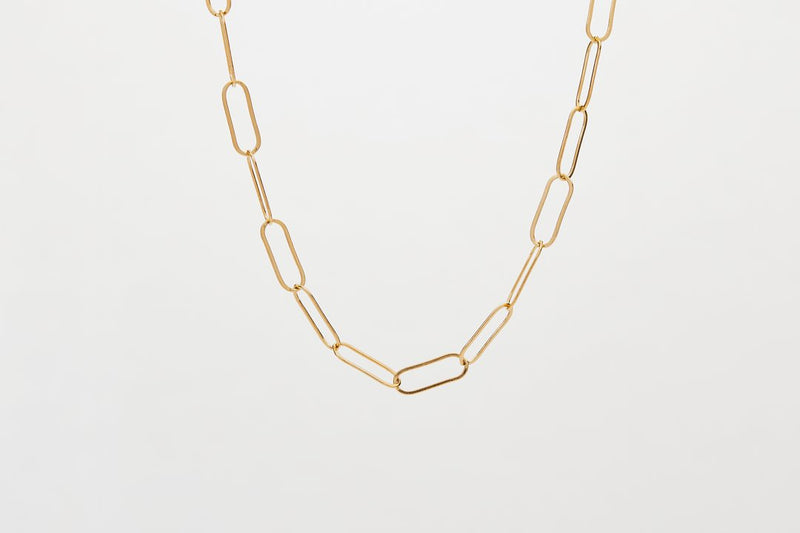 finerrings gold filled elongated short chain necklace worn short