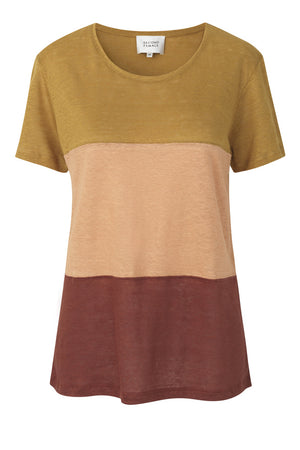 Linen peony tee by second female ocre tri colour hunterminx