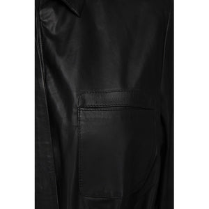Minus leather black dress with short sleeve front pockets