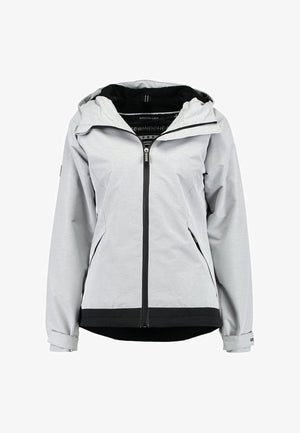 Grey Hooded SD Windtrekker jacket by Superdry zipped up